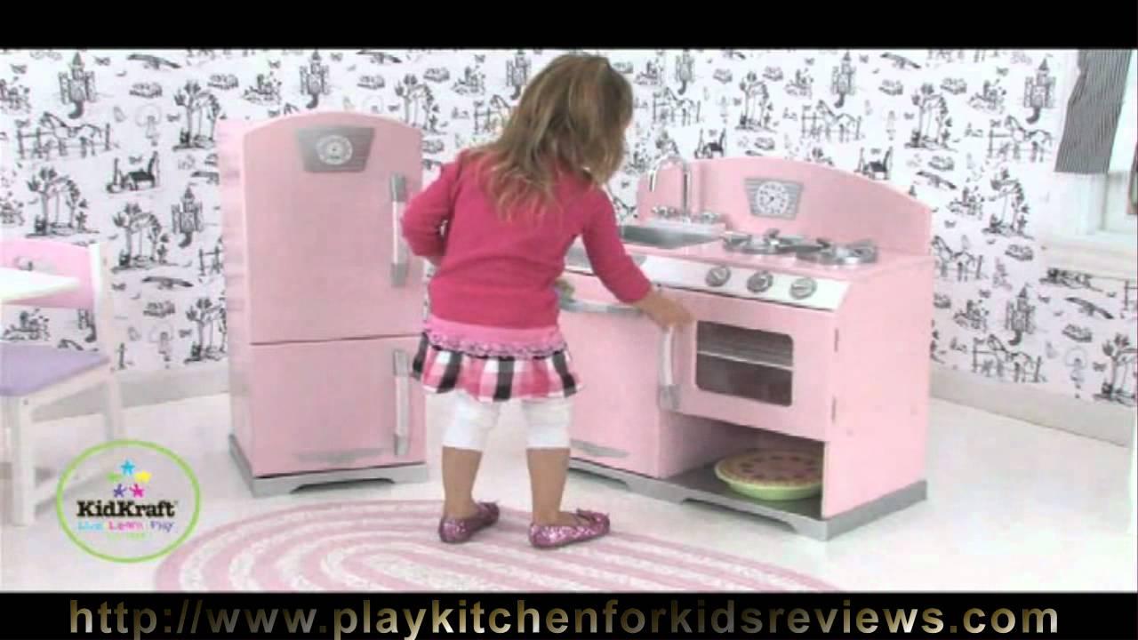 Kidkraft Pink Retro Kitchen And Refrigerator 53160 Review Kidkraft Kitchen Review Youtube