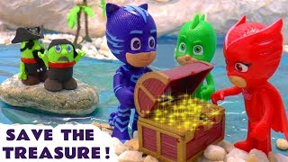 PJ Masks Rescue Treasure from funny Funlings Pirates with Thomas and Friends toy trains TT4U