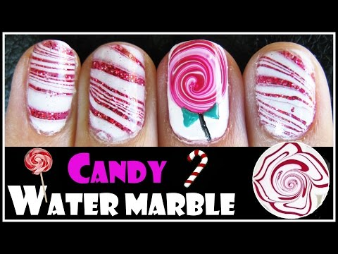 WATER MARBLE TUTORIAL VALENTINE'S DAY CANDY CANE LOLLIPOP NAIL ART DESIGN SHORT HOW TO VIDEO