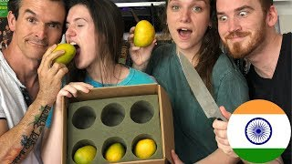 AMERICANS TRY INDIAN MANGOS FOR THE FIRST TIME!!!