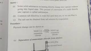 Science class 9 , Experiment question, separation the components of sand, common salt ammonium