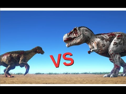 therizinosaurus vs rex || ark: survival evolved || cantex - youtube