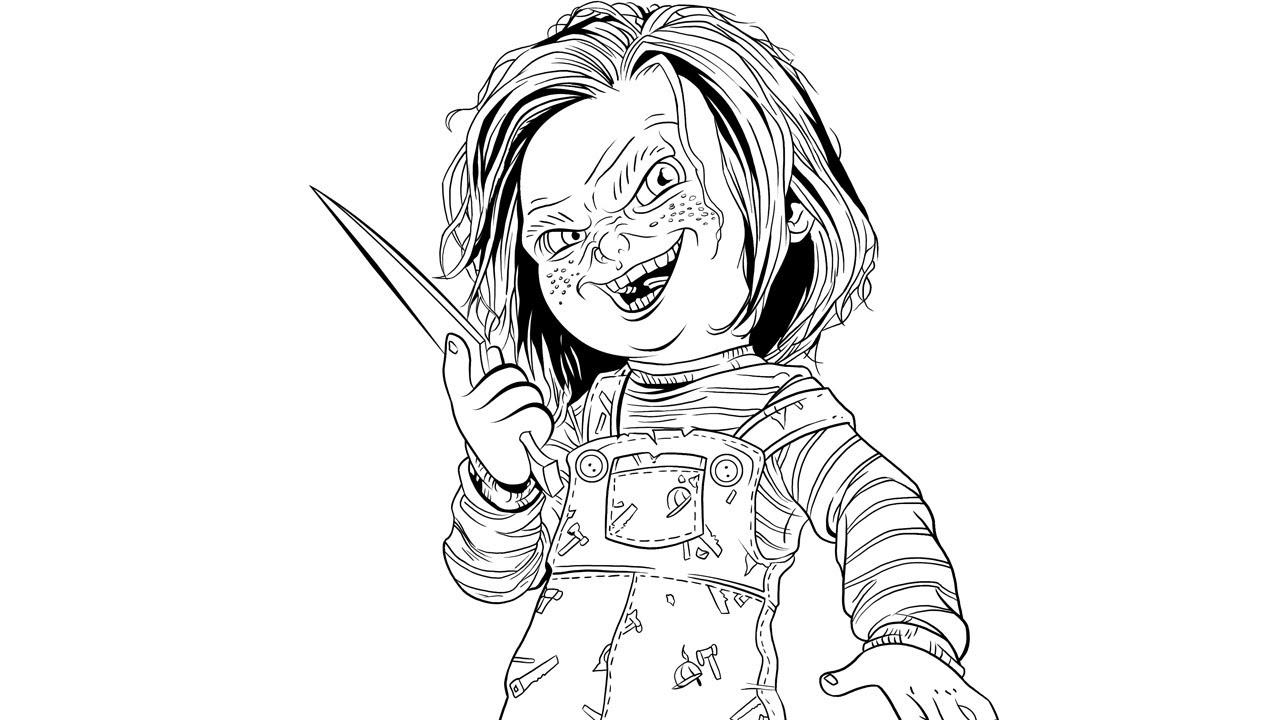 Speed inking chucky child 39 s play youtube Coloring books for adults youtube