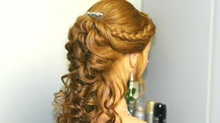 Download Curly prom hairstyle for long hair with french braids. Tutorial 3Gp Mp4