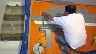 Part 5 How to install wood look plank tile on Schluter Ditra: How to start Laying the tile