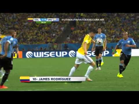 Gol de Rodríguez. Colombia 1 - Uruguay 0. Mundial Brasil 2014. Fútbol Para Todos.