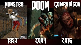 Doom 1993 - 2016 : Monster Comparison