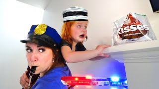 COPS vs ROBBERS - Prison Escape from Barbie Jail - will Adley get caught by Police Girl?? (new game)