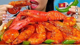 EATING SPICY SEAFOOD BOIL, LOBSTER, ARGENTINE RED SHRIMPS & EGGS ASMR  먹방 Real Sounds