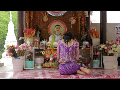 Stock Footage - Asian Girl Praying In Temple - Cambodia 5 | VideoHive