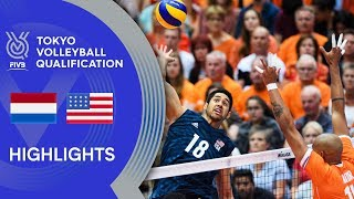NETHERLANDS vs. USA - Highlights Men | Volleyball Olympic Qualification 2019