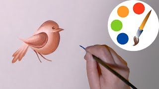 Easy way to paint a simple bird, One Stroke for beginners, irishkalia