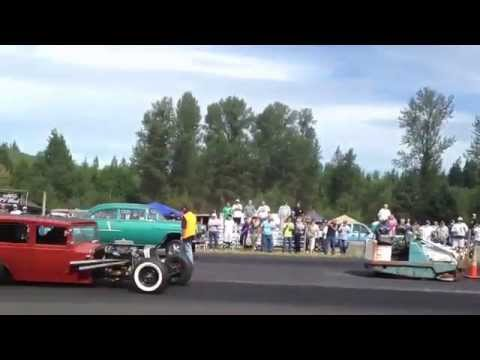55' CHEVY VS. 4 DOOR SEDAN BILLETPROOF ERUPTION DRAGS TOUTLE, WA 2013