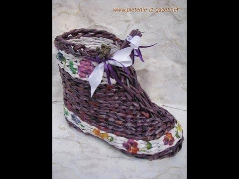 ▬► El zapato tejido con periodicos. Parte 2.