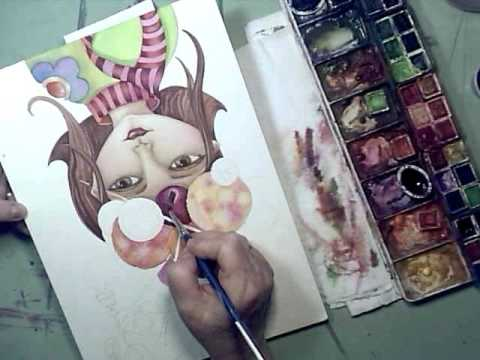 Yarni Girl Speed Painting-Watercolor by Lori Rase Hall