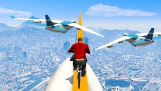EXTREMELY DANGEROUS SKY BIKE TIGHTROPE! (GTA 5 Funny Moments)