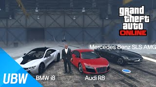 German Sports Car Edition!! [GTA 5 TOP GEAR] BMW i8, Audi R8, Mercedes Benz SLS AMG