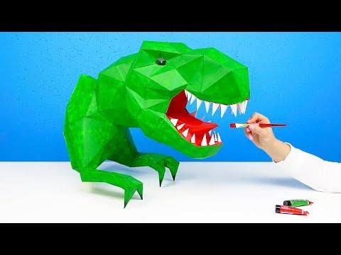 ОГРОМНЫЙ 3D ТИРАННОЗАВР ИЗ БУМАГИ КАК СДЕЛАТЬ ДОМА СВОИМИ РУКАМИ | PAPERCRAFT T-REX DIY