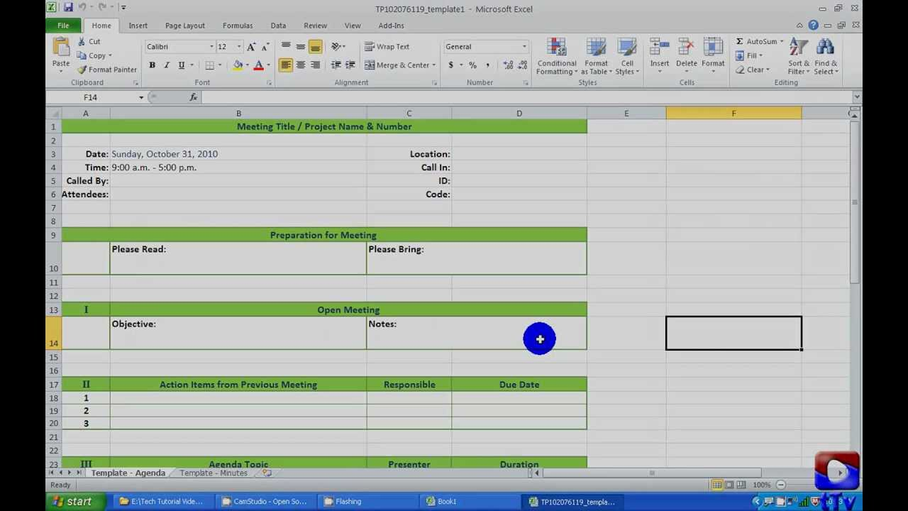 Using Excel Templates