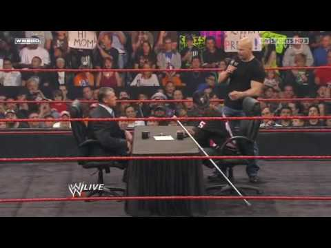 WWE Raw 3/15/10 Bret Hart & Vince McMahon Contract Sign In Part 1/2