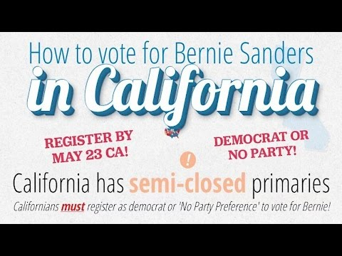 This Monday is the DEADLINE to Register in California for Democratic Primary
