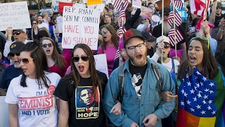 Thousands of anti-Trump protesters say 'not my president'