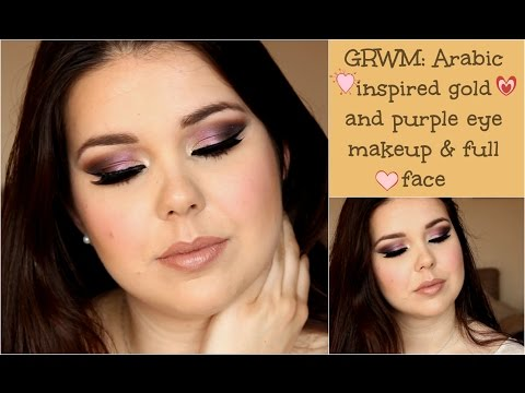 GRWM: Arabic inspired purple and gold eye makeup & full face
