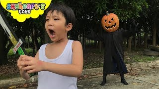 ATTACK OF THE PUMPKIN MAN | Skyheart & Daddy bought huge pumpkin toys action kids
