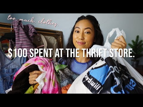 what $100 buys you at the thrift store | another collective try-on thrift haul