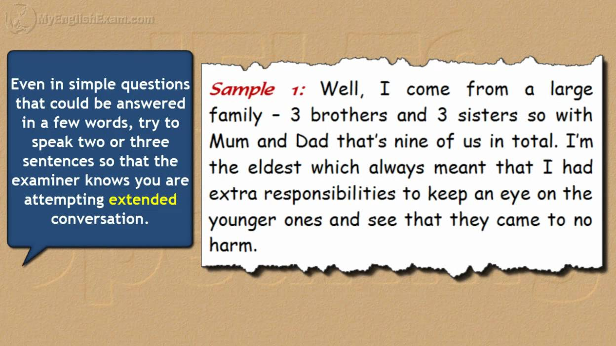 IELTS Speaking Models: 9 -- Small or Large Family - YouTube