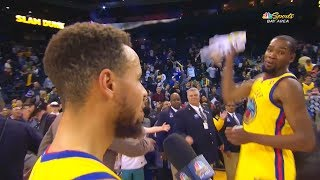 Kevin Durant THREATENS STEPHEN CURRY AND HITS HIM WITH TOWEL BEFORE 2018 NBA ALL-STAR GAME!