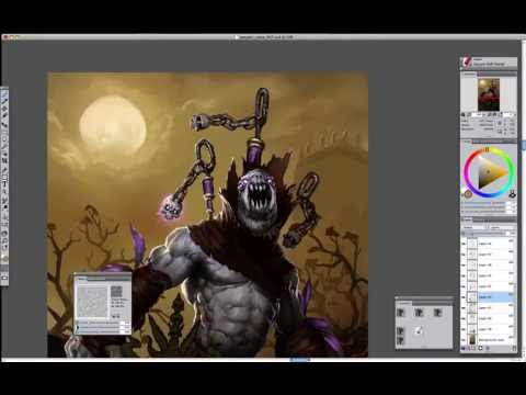 Digital Painting Process - Diablo 3 Witch Doctor Gargantuan