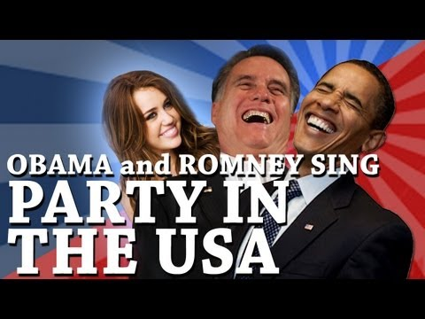 Barack Obama And Mitt Romney Singing Party In The Usa By Miley Cyrus (preview) video