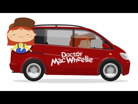 Kids cartoon. New car in car shop
