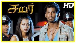 Samar Tamil Movie Scenes | Vishal arrested for killing John Vijay | Sunaina denies inviting Vishal