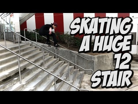 SKATING A HUGE 12 STAIR !!! - A DAY WITH NKA -
