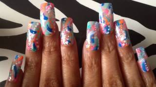Colorful Abstract Nail Art 036 Press On Nails Long Square