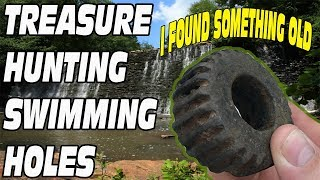 I found something strange UNDERWATER METAL DETECTING a swimming hole