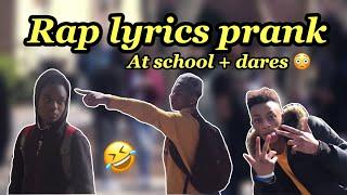 Rap lyrics at school + dares || super funny 😂😂