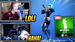 NINJA & STREAMERS REACT *NEW* BATTLE CALL EMOTE/DANCE! - Fortnite Epic & Funny Moments (Fortnite BR)
