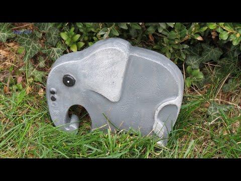 Dekoration für Garten . Betonfiguren aus Backformen selber machen .  Elefant  .