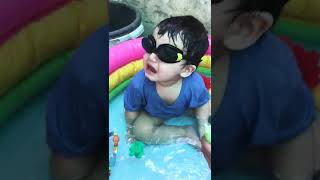 A cute pakistani babyb in swimming pool.. funny moments.. 😃😃😃