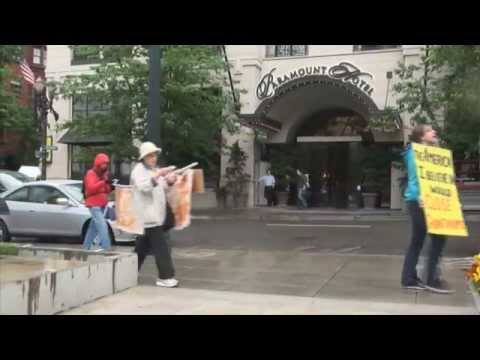 Close GITMO Protest Portland Oregon USA May 23 2014