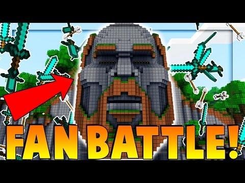 FAN BATTLE ON TEMPLE OF NOTCH - Minecraft vs 50 Fans (The Pack)