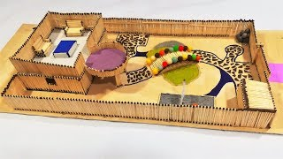 How to Make a House with a Japanese Style Garden Using Matchsticks   DIY