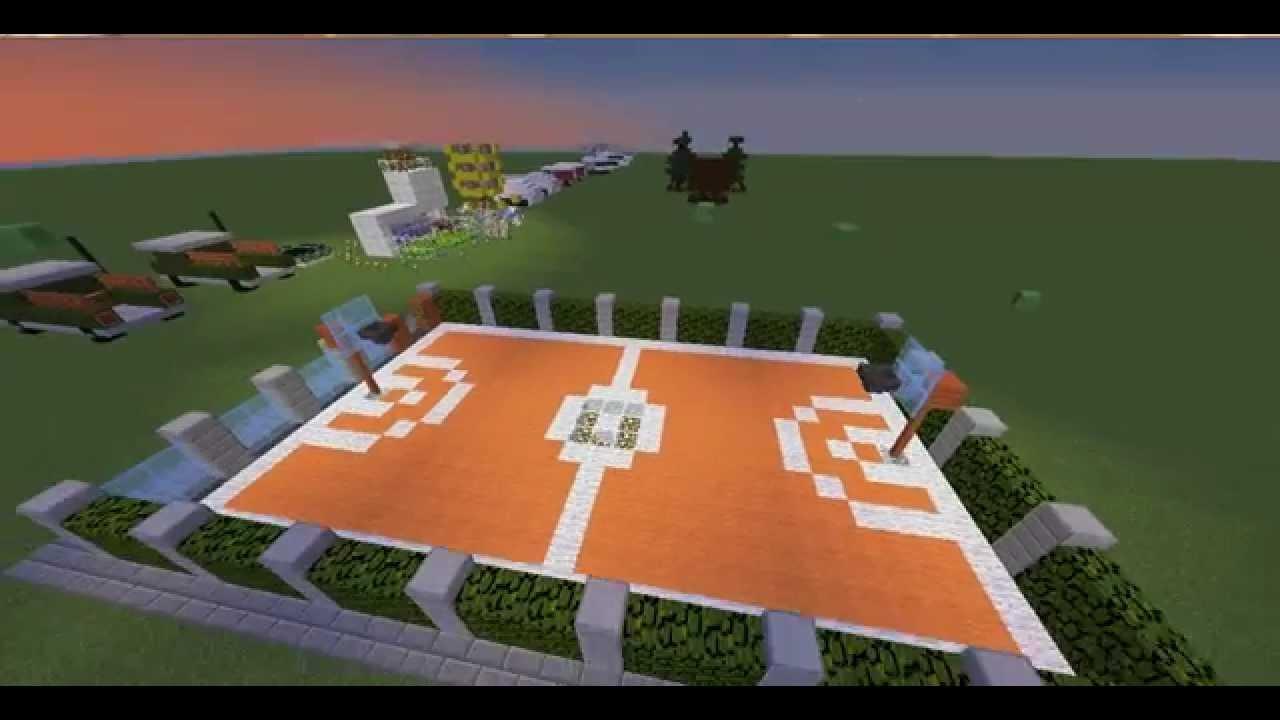 Баскетбольная площадка в Майнкрафт - YouTube
