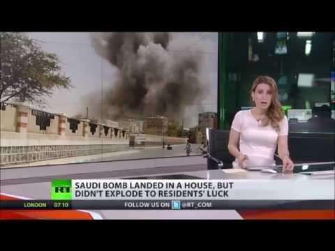 SAUDI Bomb on your SOFA 'Yemen Civilians Narrowly avoid death as failed shell dropped on HOUSE'