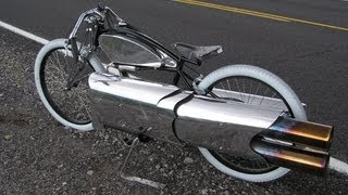 RocketMan: Amazing Twin Jet Engine bicycle! pulse jet bike.