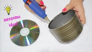 Best Reuse Idea With Tin Can and CD How To Reuse Tin Can And CD