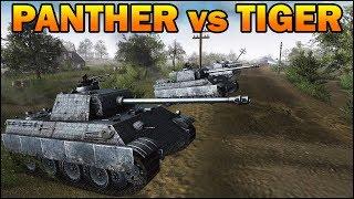 20 TIGERS vs 20 PANTHERS - German Tanks Duel - Men of War Assault Squad 2 - Editor Scenario #95
